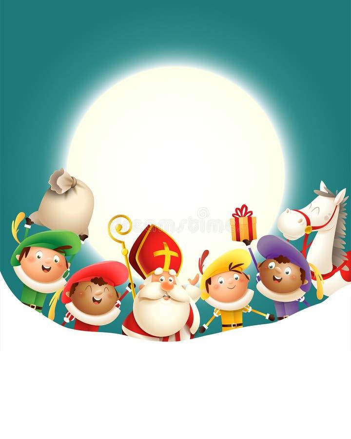 Saint Nicholas Sinterklaas e seus amigos Zwarte Piets comemoram o feriado na frente da lua - fundo de turquesa com espaço da cópi ilustração do vetor
