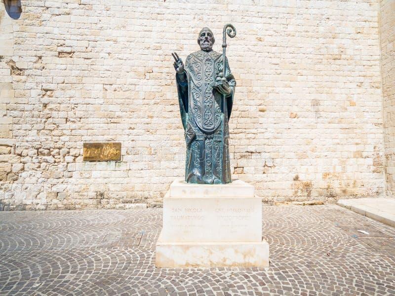 Saint Nicholas statue, Bari, Italy. Statue near famous Christian Basilica of Saint Nicholas royalty free stock image