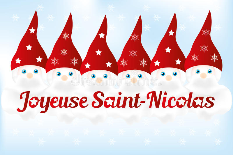 Saint Nickolas Day - illustration. Saint Nickolas (6th December) with French text and 6 cute nicks - background available as vector-eps and jpg-file royalty free illustration