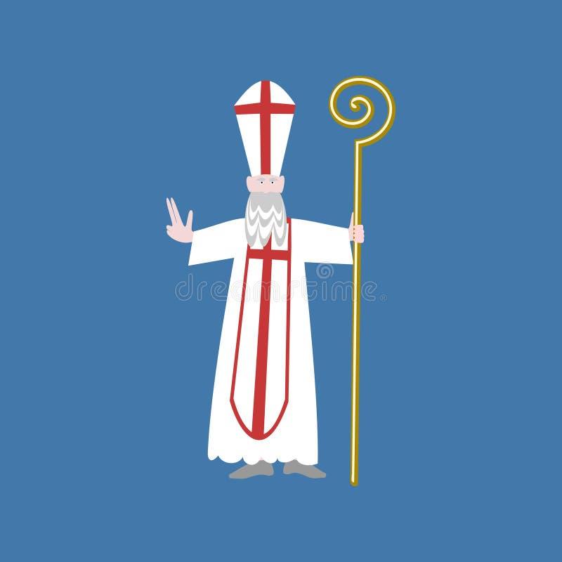 Saint Nicolas auf blauem Hintergrund stock abbildung