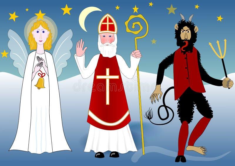 Saint Nicolas mit Engel und Teufel in der Nachtlandschaft mit Sternen und Mond lizenzfreie abbildung