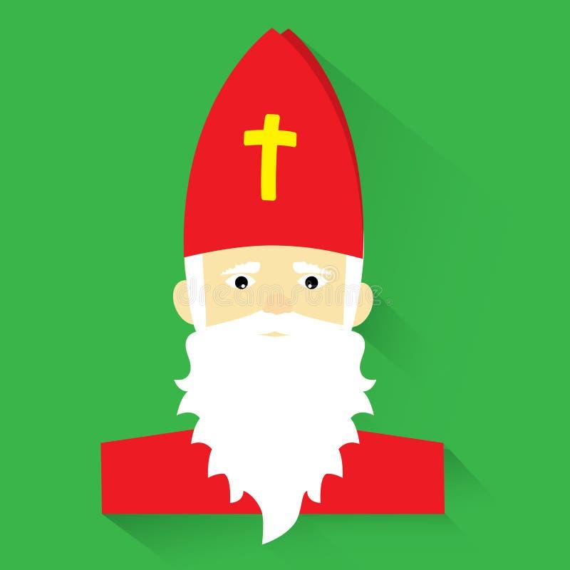 Saint-Nicolas sur le fond vert, conception plate, illustration de vecteur illustration de vecteur