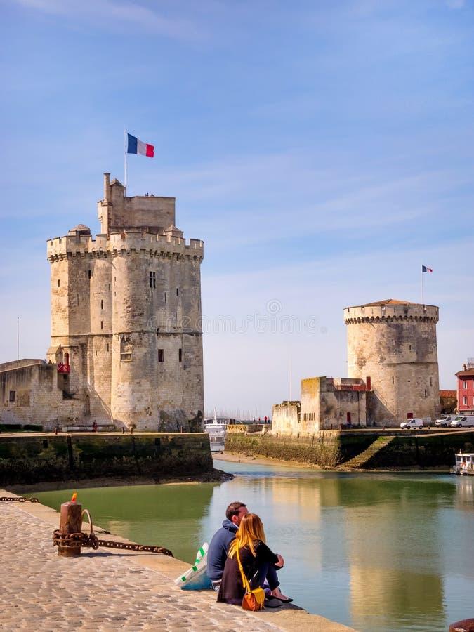 Saint Nicolas und Kettenturm in La Rochelle, Frankreich lizenzfreie stockfotografie
