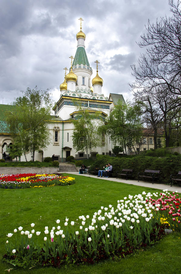 Saint Nikolas Russian Church en Sofia Bulgaria images stock