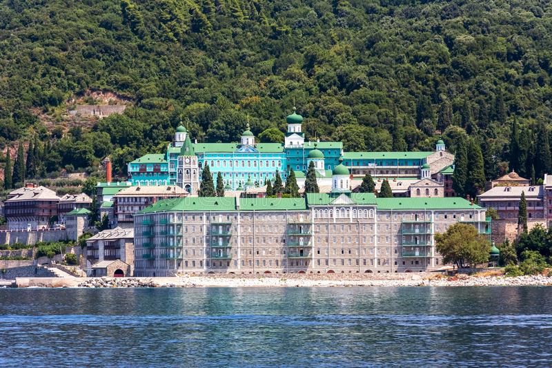 Saint Panteleimon Monastery in Athos, Chalkidiki, Greece royalty free stock image