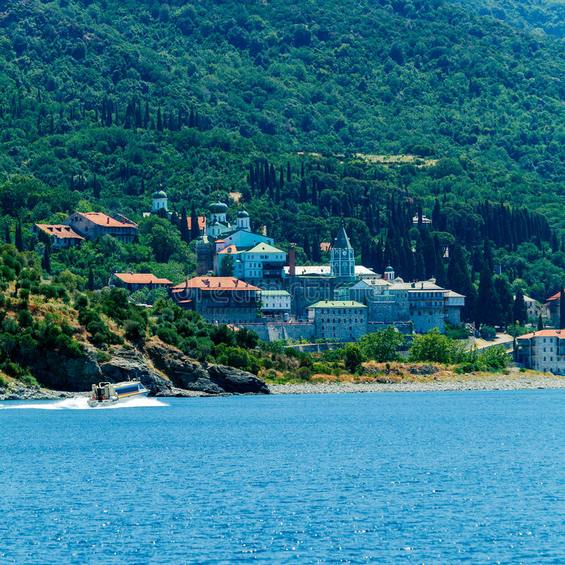 Saint Panteleimon Monastery, Mount Athos royalty free stock photography