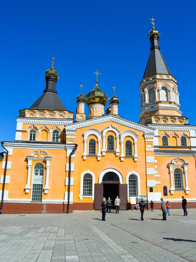 Saint Patriarch`s Cathedral Plato Church in Kyiv, Ukraine on April 9, 2017. royalty free stock images