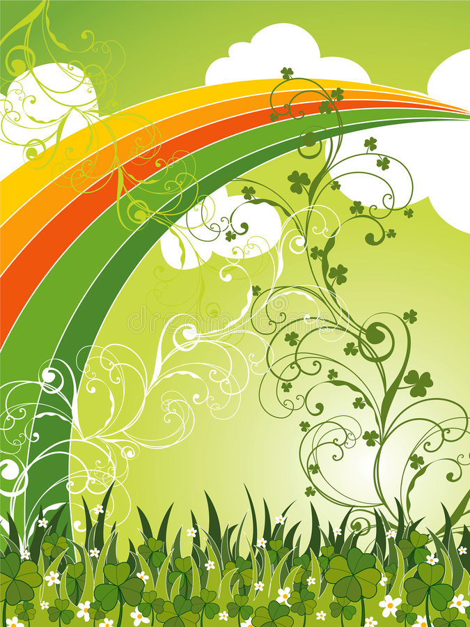 Download Saint Patrick Clovers Field And Rainbow Stock Vector - Image: 4507200