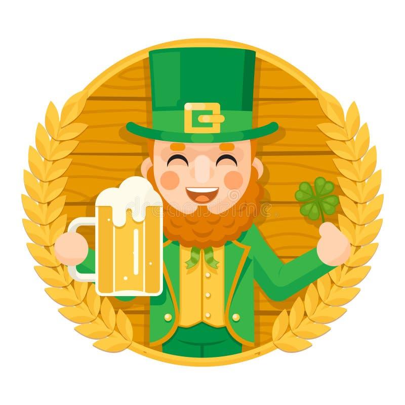 Saint Patrick Day Celebration Clover Success de lutin et tasse de symbole de prospérité de bière avec l'icône de mousse sur le ba illustration libre de droits
