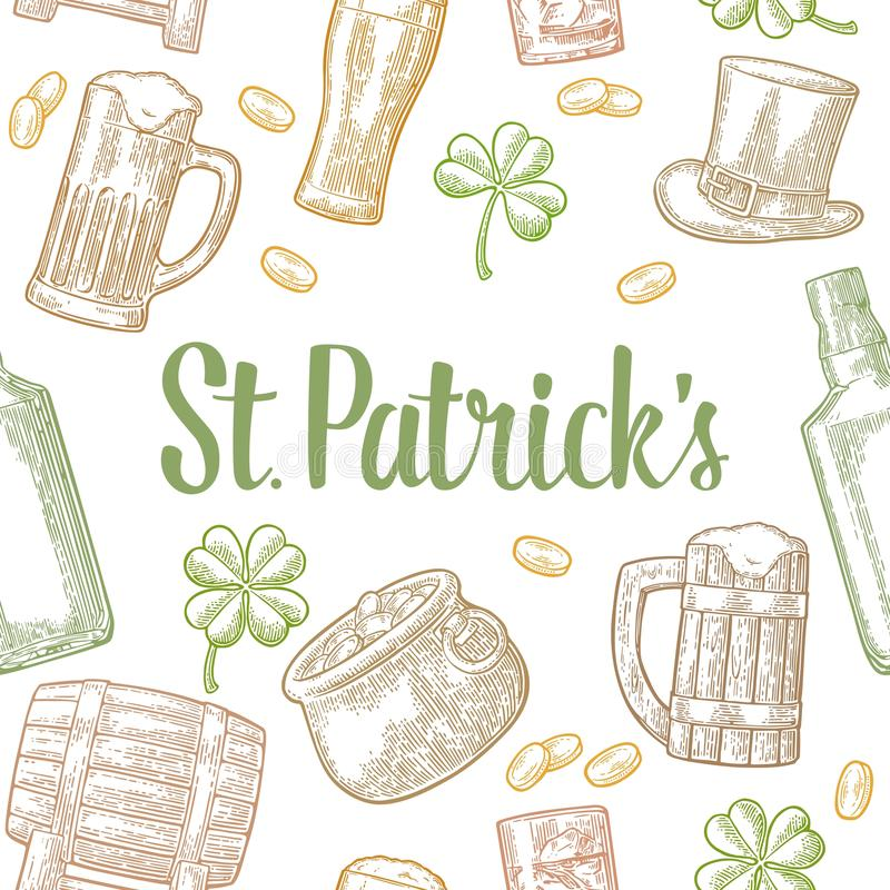 Saint Patrick Day. hat, Pot coins, pipe, beer, lyre, horseshoe royalty free illustration