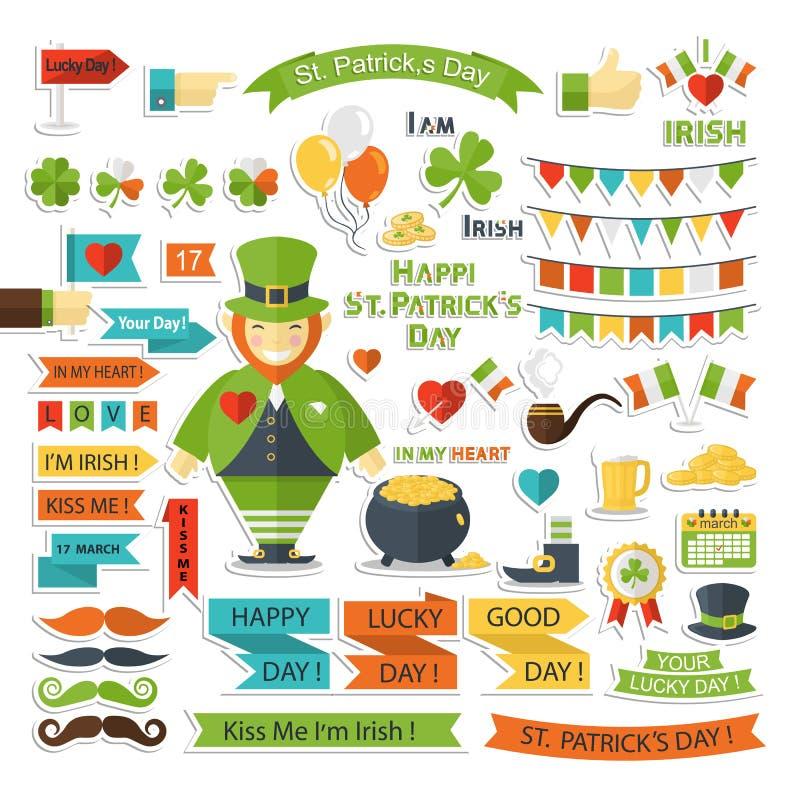 Saint Patrick Day vector set stock illustration