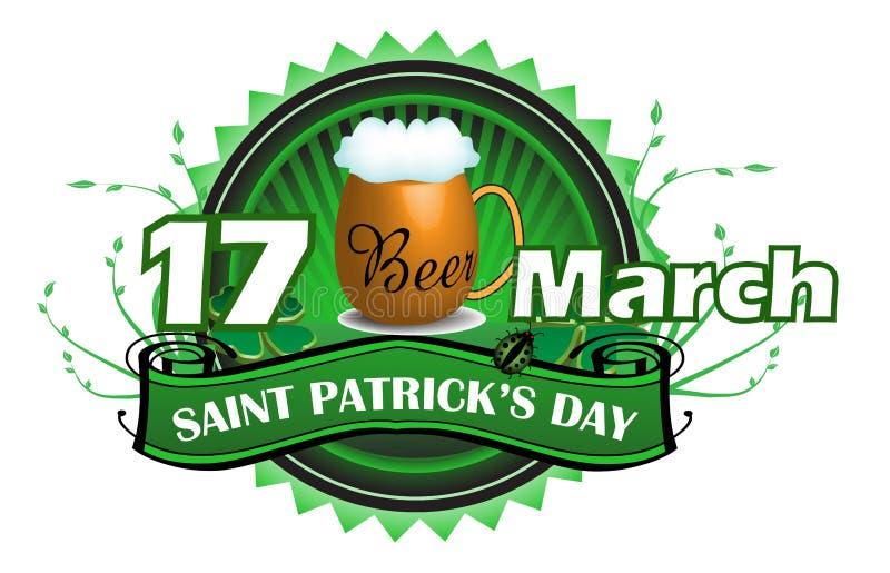 Saint Patrick green badge royalty free stock photo