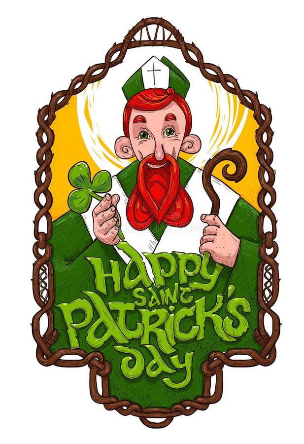 Saint Patrick inside wooden frame stock images