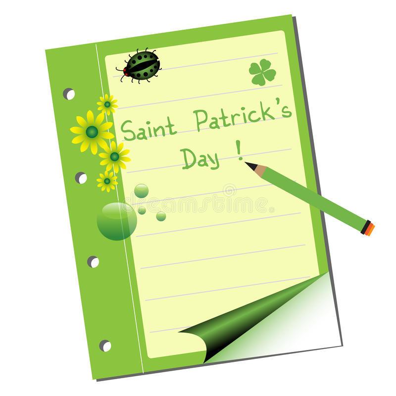 Download Saint Patrick notebook stock vector. Illustration of green - 28896691
