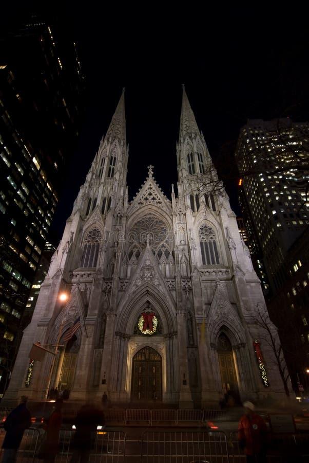 Saint Patrick's Cathedral at night royalty free stock photo