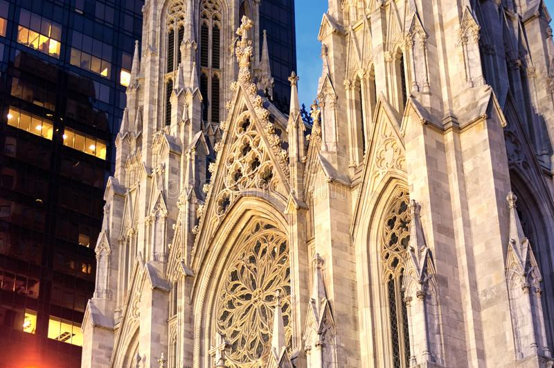 Saint Patrick`s Cathedral NYC night view stock images