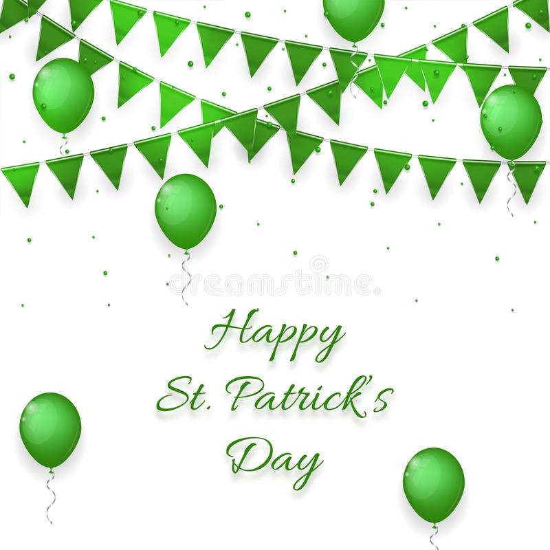 Saint Patrick's Day background with balloons and with a garland royalty free illustration