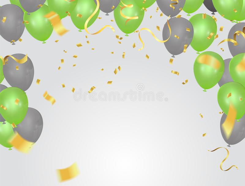Saint Patrick`s Day background with balloons and with a garland. stock illustration