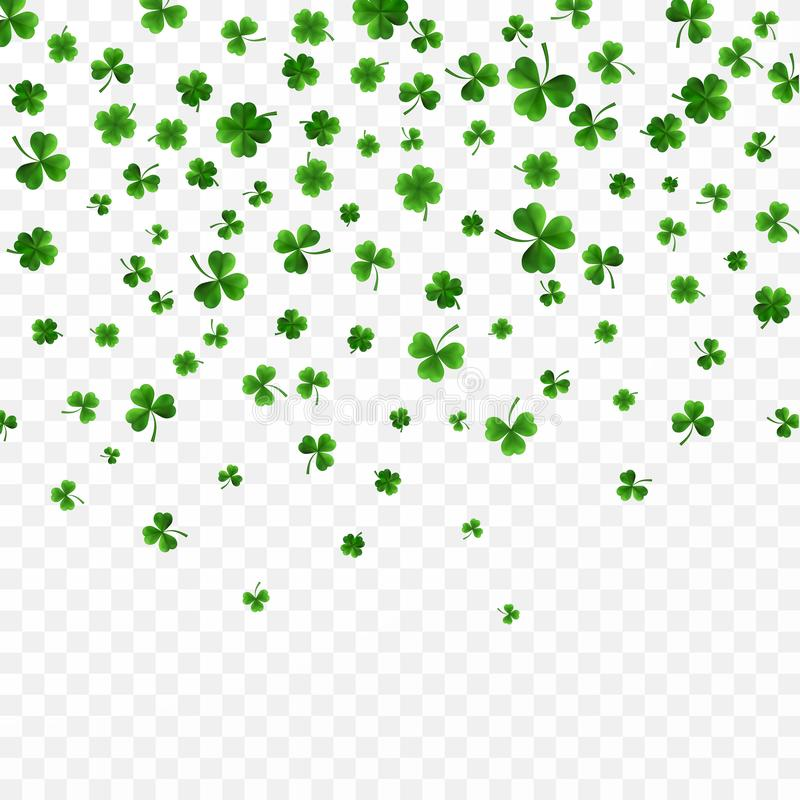 Saint Patrick`s Day Border with Green Four and Tree 3D Leaf Clovers on White Background. Irish Lucky and success symbols. Vector. Illustration stock illustration