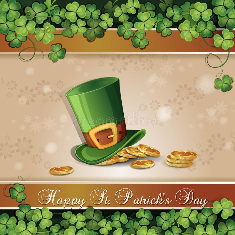 Saint Patrick's Day card. With clover ,hat and gold vector illustration