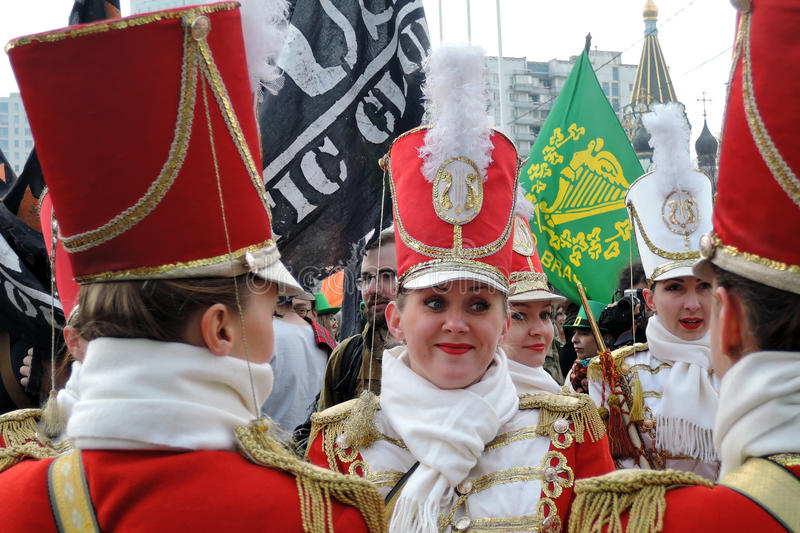 Saint Patrick`s Day celebration in Moscow. Women drummers band royalty free stock photos