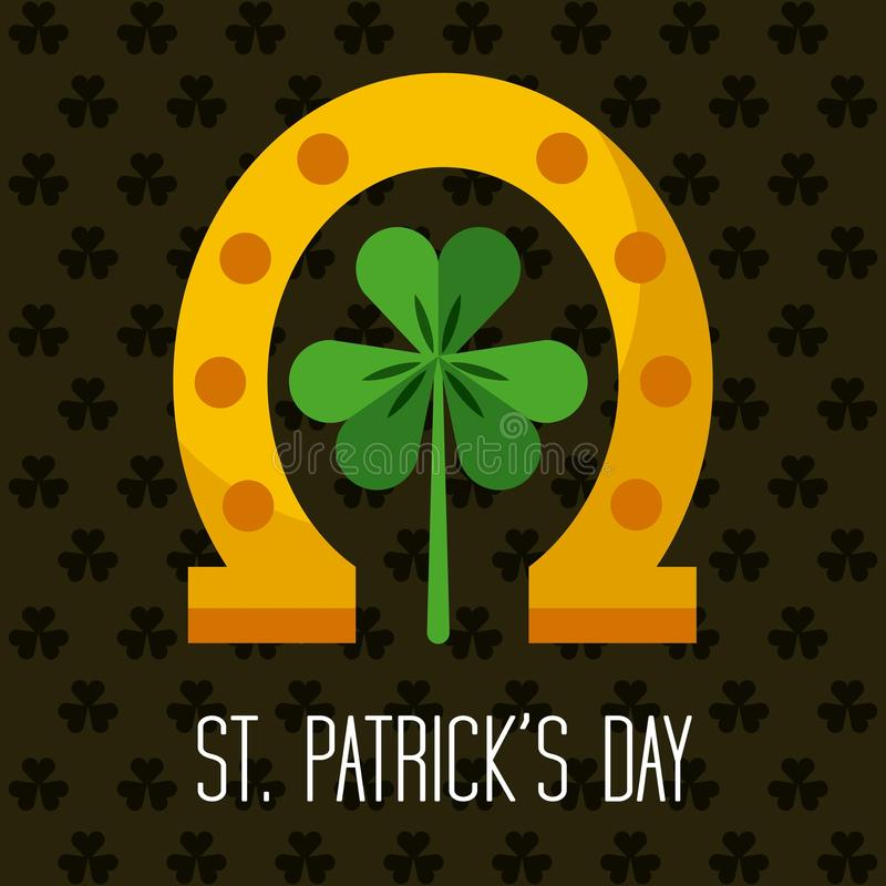 Saint patrick's day design. Saint patrick's day card with gold horseshoe and clover icon. colorful design. illustration stock illustration
