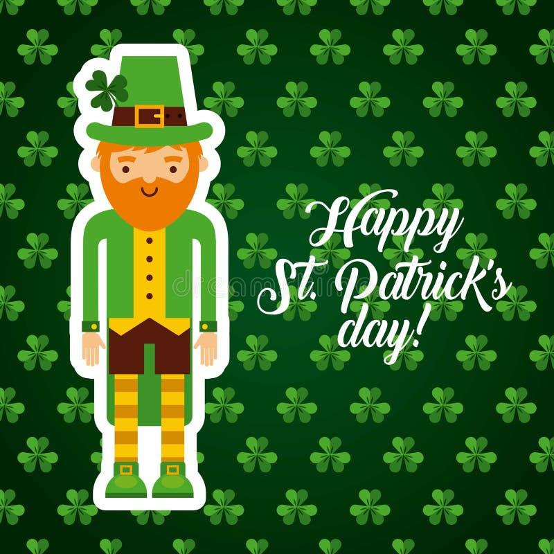 Saint patrick's day design. Saint patrick's day card with irish leprechaun icon. colorful design. illustration royalty free illustration