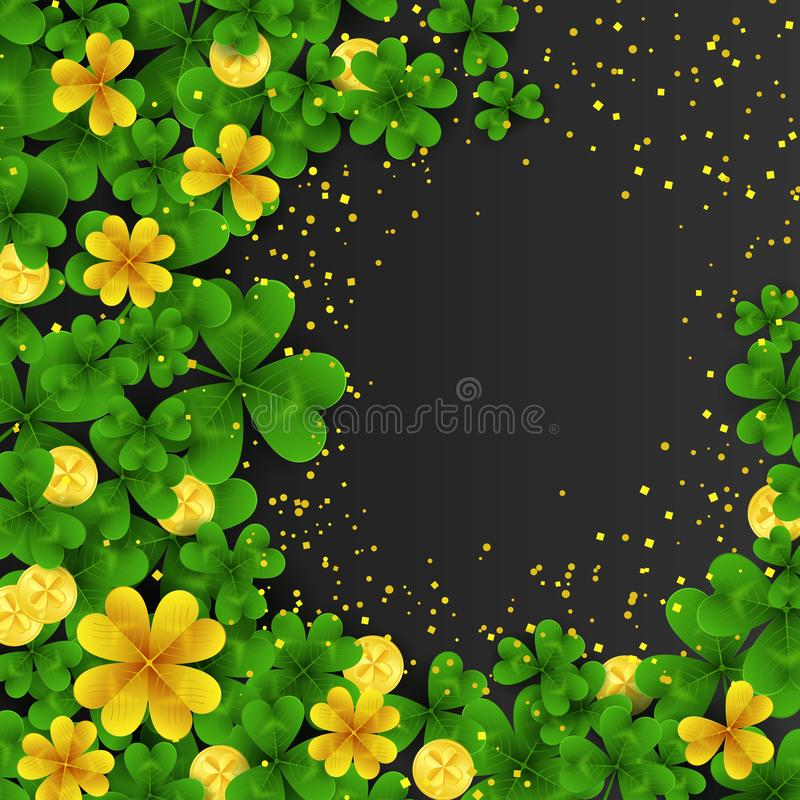 Saint Patrick s Day frame with green and gold four and three Leaf clovers,golden coins on black background. Party stock illustration