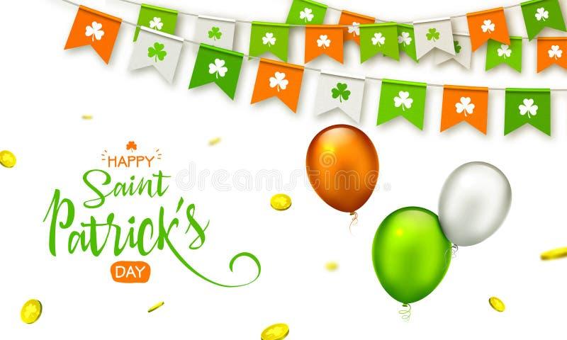 Saint Patrick`s Day. Garlands, coins, balloons stock illustration