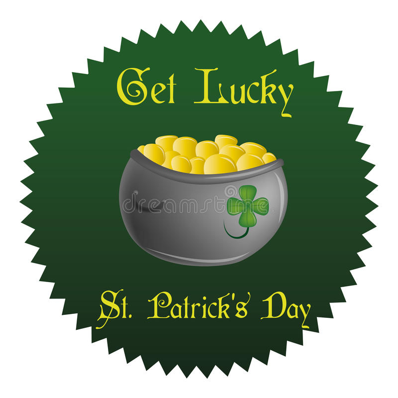 Saint patrick's day. A green label with a money pot and text for patrick's day vector illustration