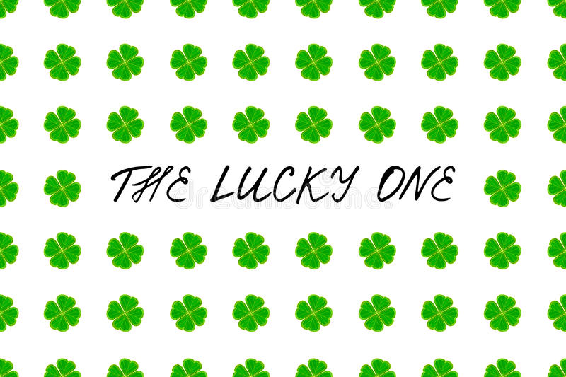 Saint Patrick`s Day greeting card with green mosaic clover leaves and text on white background. Inscription - The lucky one! stock image