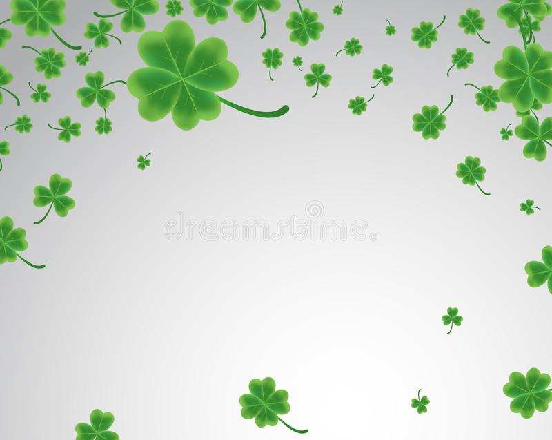 Saint Patrick`s Day greeting card with sparkled green clover lea vector illustration