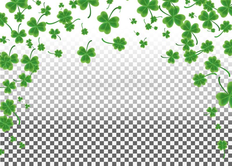 Saint Patrick`s Day greeting card with sparkled green clover lea royalty free illustration