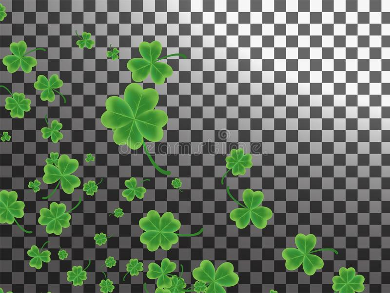 Saint Patrick`s Day greeting card with sparkled green clover lea stock illustration