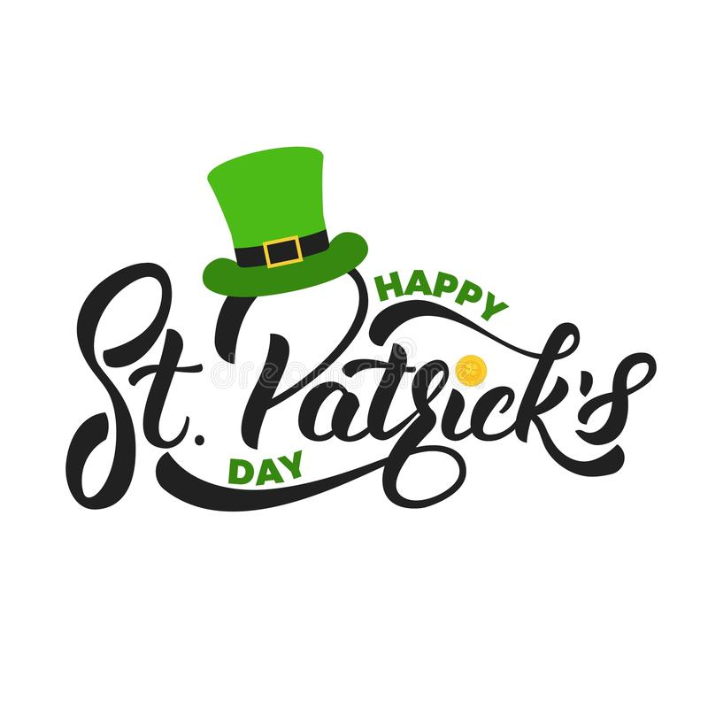 Saint Patrick`s Day. Lettering St. Patrick`s with gold coin and leprechaun hat. St. Patricks Day card vector illustration
