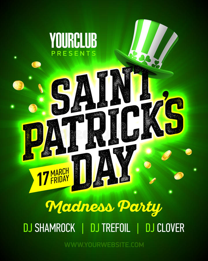 Free Saint Patrick`s Day Madness Party Poster Design Stock Image - 87148311