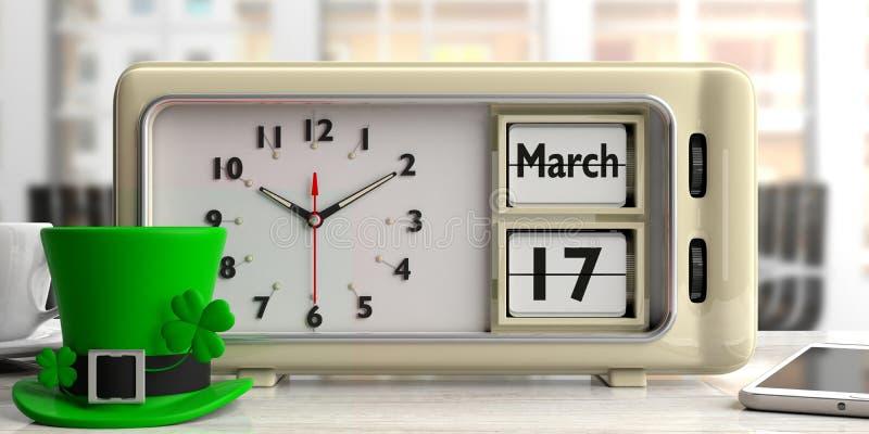 Saint Patrick`s day on old retro alarm clock, office blurry background, 3d illustration. vector illustration