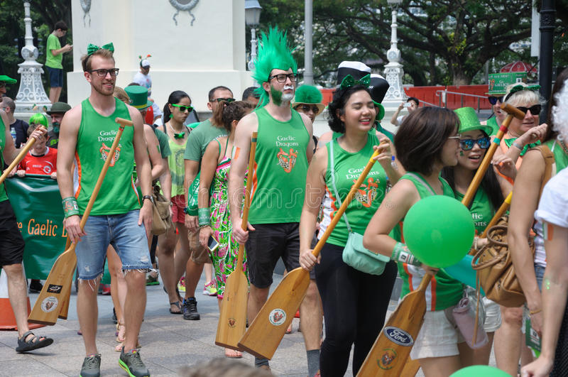 Saint Patrick`s Day parade participants. In makeup and costumes. Event in Singapore on 19th March 2017 Sunday along the Singapore River stock images