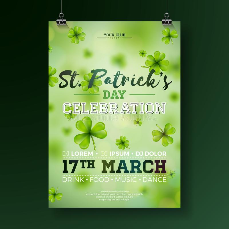 Saint Patrick`s Day Party Flyer Illustration with Clover and Typography Letter on Green Background. Vector Irish Lucky. Holiday Design for Celebration Poster royalty free illustration