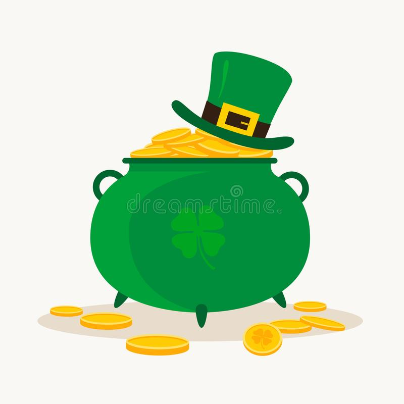 Saint Patrick`s Day. Pot of Leprechaun with gold and a lucky leaf clover. royalty free illustration