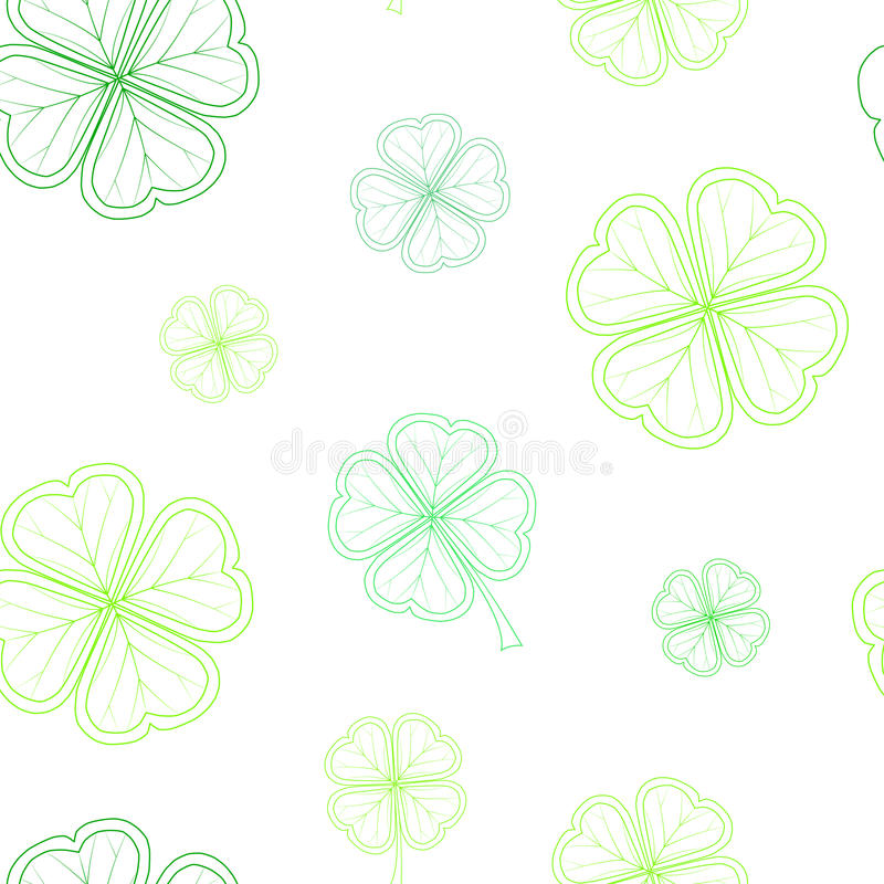 Saint Patrick`s Day seamless pattern with green tender clover leaves on white background. stock illustration