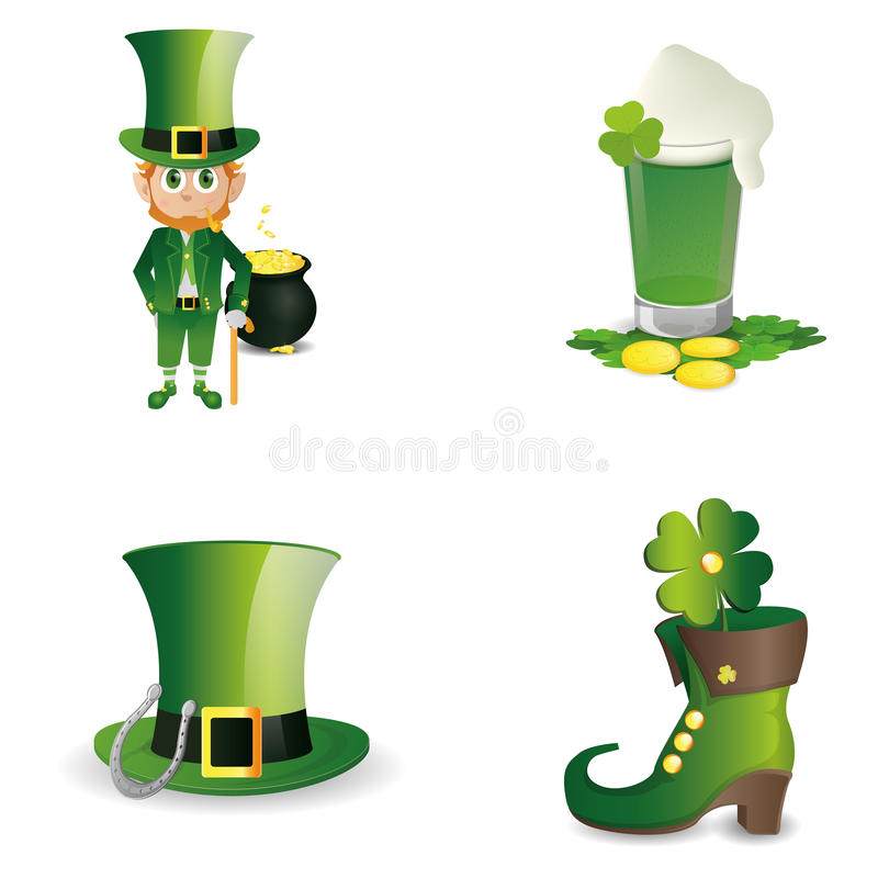 Saint patrick's day. A set of different traditional elements for patrick's day stock illustration