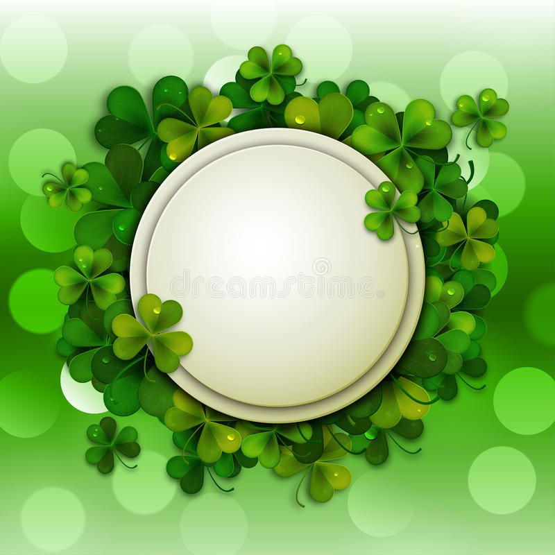 Saint Patrick's Day vector background, round banner with shamrock leaves royalty free illustration