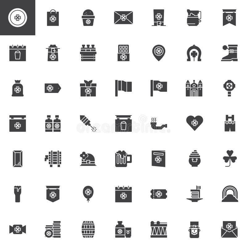 Saint Patrick`s Day vector icons set royalty free illustration