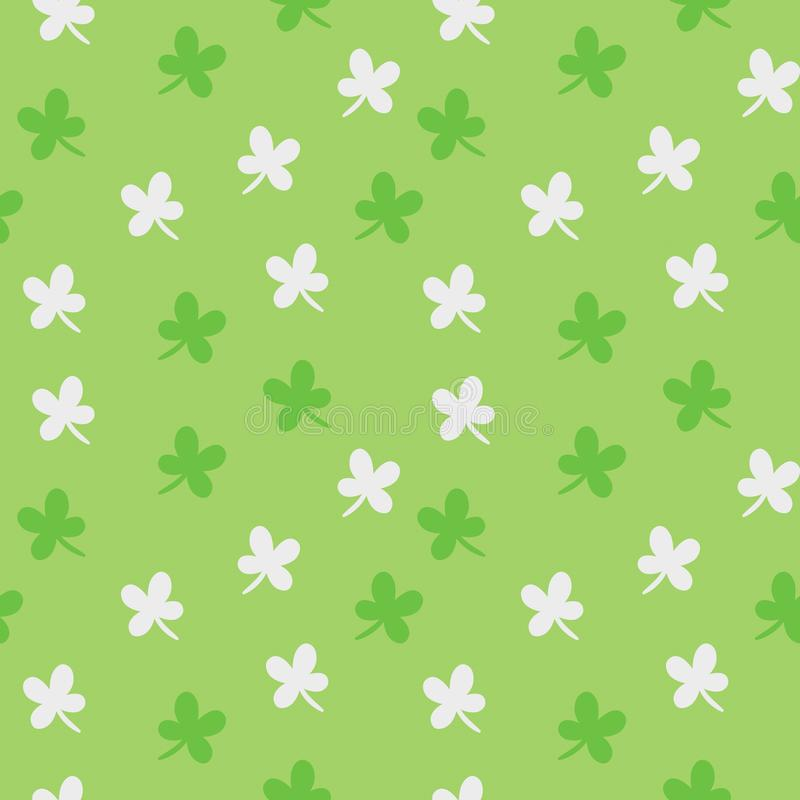 Saint Patrick`s day vector seamless pattern. Green and white clover colorful background vector illustration