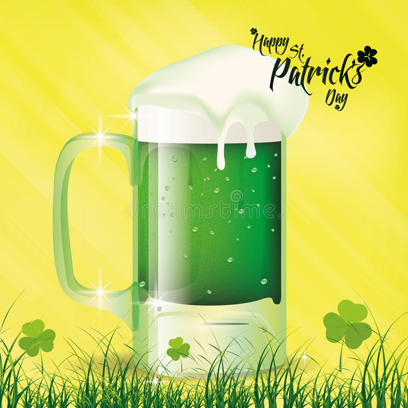 Saint patrick's day. A yellow background with a beer mug and text for patrick's day stock illustration