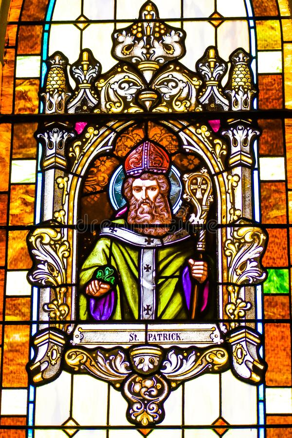 St. Patrick Stained Glass Window royalty free stock image