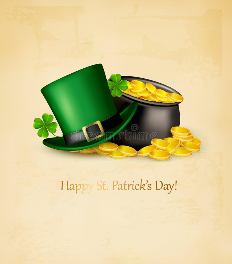 Saint Patricks Day background. With clover leaves, green hat and gold coins in a cauldron. Vector illustration