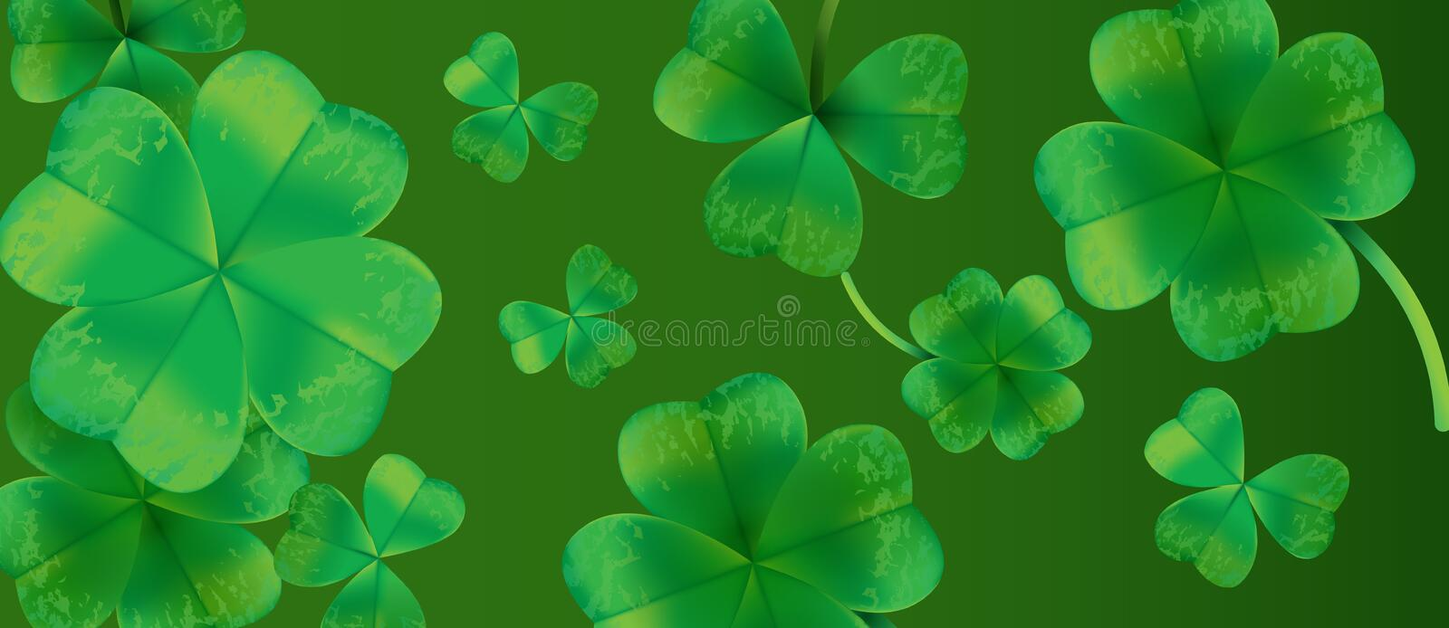 Saint Patricks Day Background Design with Green Falling Clovers Leaf. Irish Lucky Holiday Vector Illustration for Greeting Card, P royalty free illustration