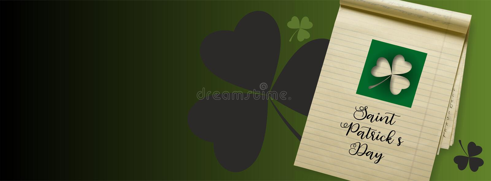 Saint Patricks Day banner - Facebook Covers -. Saint Patricks Day - Facebook Covers with clover leaves, old sheet of notes and words `Saint Patricks Day royalty free stock images